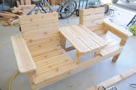 Wooden Bench Plans To Build by How To Build A Double Chair Bench With Table Free Plans