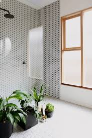 walk in shower glass partition geometric wall tile plants