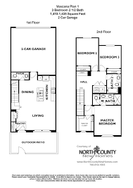 voscana floor plan 1 new townhomes in carlsbad ca by shea homes