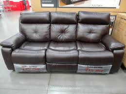 Costco Living Room Brown Leather Chairs Spectra Matterhorn Leather Power Motion Sofa