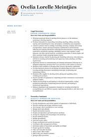 Secretary Resume Sample by Download Legal Secretary Resume Haadyaooverbayresort Com