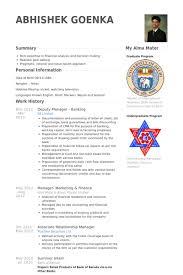 Banker Resume Example by Deputy Manager Resume Samples Visualcv Resume Samples Database