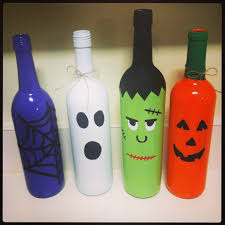 spray painted halloween wine bottles halloween ideas pinterest