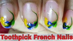 french nails art designs tutorial at home toothpick french nail