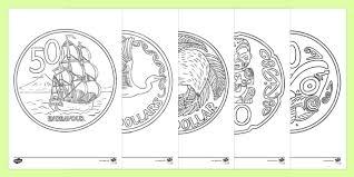 nz coins colouring zealand maths coins kiwi