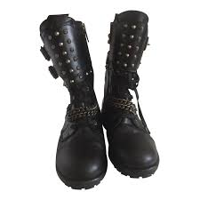 high heel motorcycle boots ikks biker boots boots leather black ref 24126 joli closet