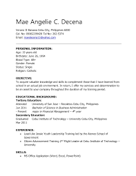 Career Goals Examples For Resume by Objective Sample Resume For Ojt Contegri Com