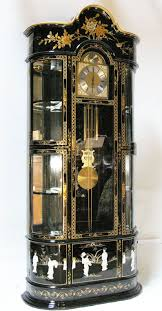 Grandmother Clock Oriental Furniture Grandfather Clock Cabinet Black Lacquer Mother