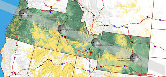 Oregon Map by National Solar Eclipse Bureau Of Land Management