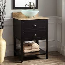 Best Narrow Bathroom Solutions Images On Pinterest Narrow - Black bathroom vanity with vessel sink