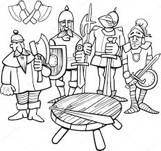 knights of the round table coloring page u2014 stock vector