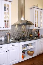 White Glass Metal Backsplash Tile Luna Pearl Granite Home - White tin backsplash