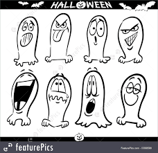 halloween halloween ghosts emoticons for coloring stock