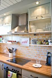 Brick Tiles For Backsplash In Kitchen by Remodelaholic Tiny Kitchen Renovation With Faux Painted Brick
