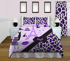 Purple Bed Sets by Paris Themed Bedding Sets Eiffel Tower Home Decor Purple Cheetah