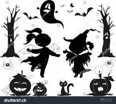 halloween ghost clipart black and white halloween black icons kids girls pumpkins stock vector 113031052