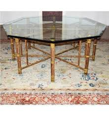 Bamboo Dining Room Furniture by Mcguire Octagonal Bamboo Dining Table With Beveled Glass Top Ebth