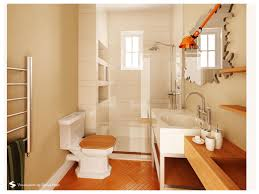 Cool Small Bathroom Ideas by Interior Cool Design Using Parquet Flooring And One Piece Toilet