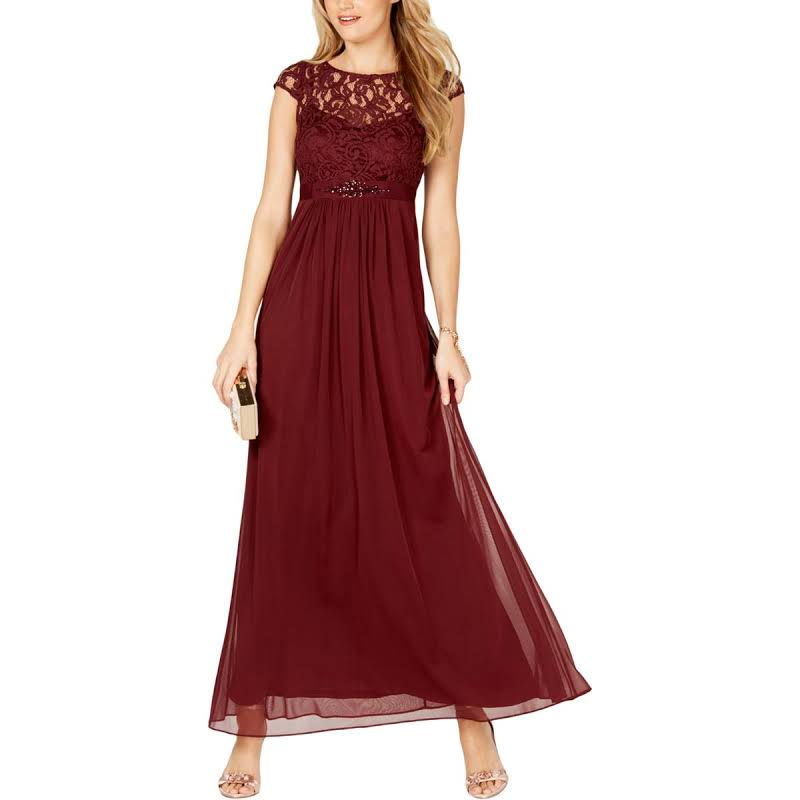 Adrianna Papell Plus Lace Overlay Embellished Evening Dress Red 20