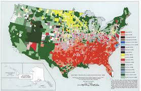 The Map Of The United States Of America by Leading Religious Denominations In The Usa 1950 Map Usa