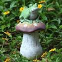 Outdoor Garden Decor Frogs Photograph | Frog on Mushroom Gar