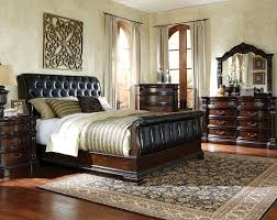 Black Sleigh Bed Suite LeatherLike Fabric Churchill Bedroom - White tufted leather bedroom set
