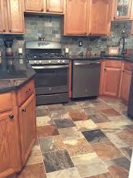 Slate Kitchen Backsplash Porcelain Slate Tile Kitchen With Ge Slate Appliances Dirty