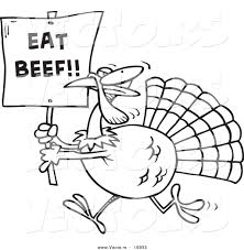free funny thanksgiving pictures vector of a cartoon turkey with an eat beef sign coloring page