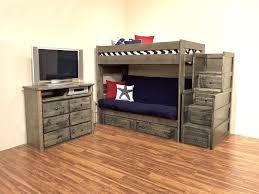 trendwood 4 piece rustic media chest bunkbed bedroom set with grey