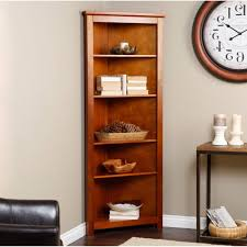 home design corner creative bookshelves with wood table and clock