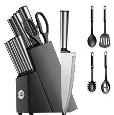 Chicago Cutlery Kitchen Knives by Koden Series 18 Piece Stainless Cutlery Set W Black Block