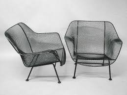 Mesh Patio Chairs by Pair Wrought Iron And Mesh Lounge Chairs By Russell Woodard At 1stdibs