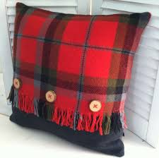 Knitted Cushions With Buttons Repurpose Vintage Wool Plaid Blanket U003d Pretty Crafty Embellished