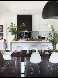 Kitchen Pendent Lighting by Black And White Kitchen With Glass Pendants Over Island Bench And