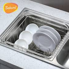 Sakura Bowl Rack Shelf Retractable Sink Drain Basket Sink Dish - Kitchen sink dish rack