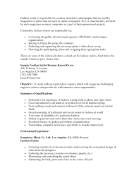 Sample Resume Objectives Warehouse Worker by Fashion Stylist Cover Letter