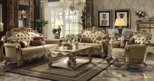 Chocolate Accents by Vendome Traditional Gold Patina Formal Living Room Set W Carved