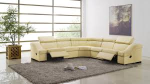 leather sectional sofa recliner 8021 reclining sectional sofa in light beige full leather by esf