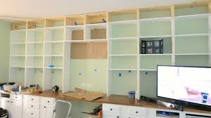 build a wall to wall built in desk and bookcase remodelaholic