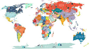 Colored World Map by The Lovely Wall Company World Interactive Map Wall Decal U0026 Reviews