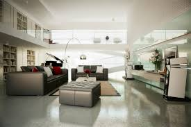dual level home library interior design ideas