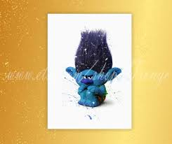 trolls branch poster trolls watercolor branch print home decor