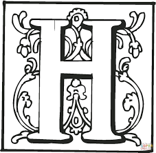letter h with ornament coloring page free printable coloring pages