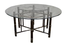 Bamboo Dining Room Furniture by Mcguire Hexagon Bamboo Base Glass Top Dining Table Chairish