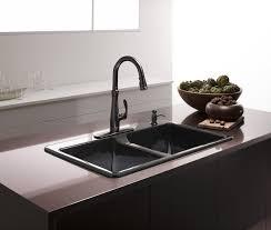 Oiled Rubbed Bronze Kitchen Faucets Kohler K 5873 4 7 Deerfield Double Bowl Top Mount Kitchen Sink
