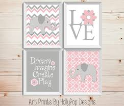 pink gray nursery decor baby nursery wall decor elephant