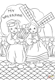 dutch vintage valentine u0027s day card coloring page free printable