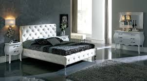 White Nelly Bed By ESF WModern Tufted Leather Headboard - White tufted leather bedroom set