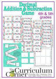 Decimal Addition Worksheets Adding U0026 Subtracting Decimals Game The Curriculum Corner 4 5 6