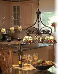 Iron Kitchen Island by Gorgeous Kitchen Island Lighting Design With Tiffany Stained Glass